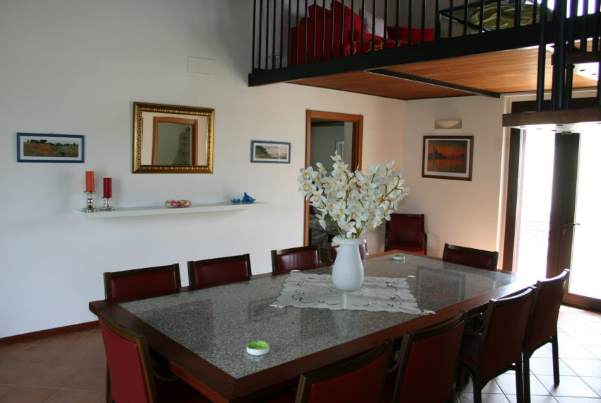 694 - Hall with marble table for 12 people